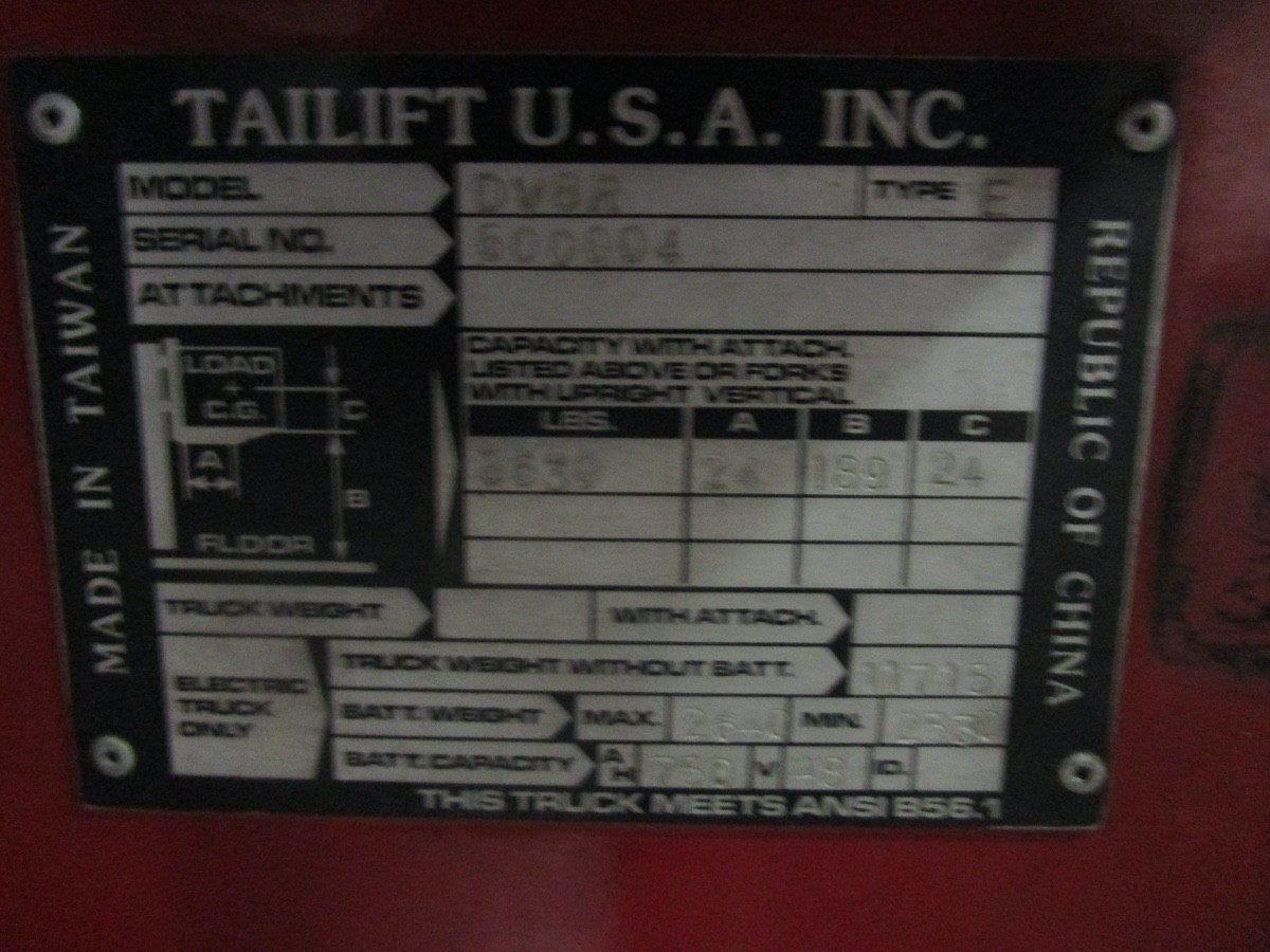 Tailift USA DV8R Narrow Aisle Articulating Forklift s/n 600004, 3,630#, 775 Hou   Rig Fee: $100 - Image 4 of 11