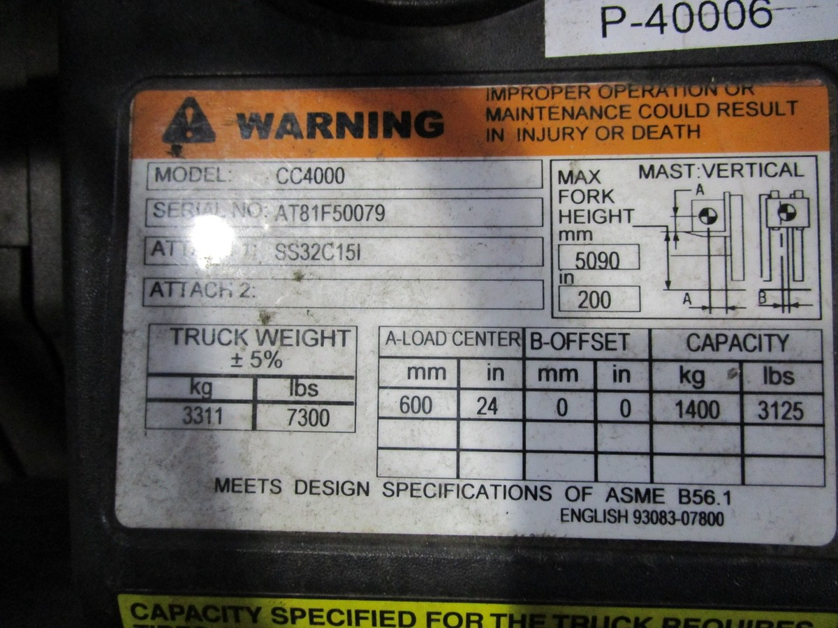 Cat CC4000 LPG Forklift s/n AT81F50079 (Delivery - 4/3/20), 1700 Hours, 3,125 #, 200 | Rig Fee: $100 - Image 5 of 7