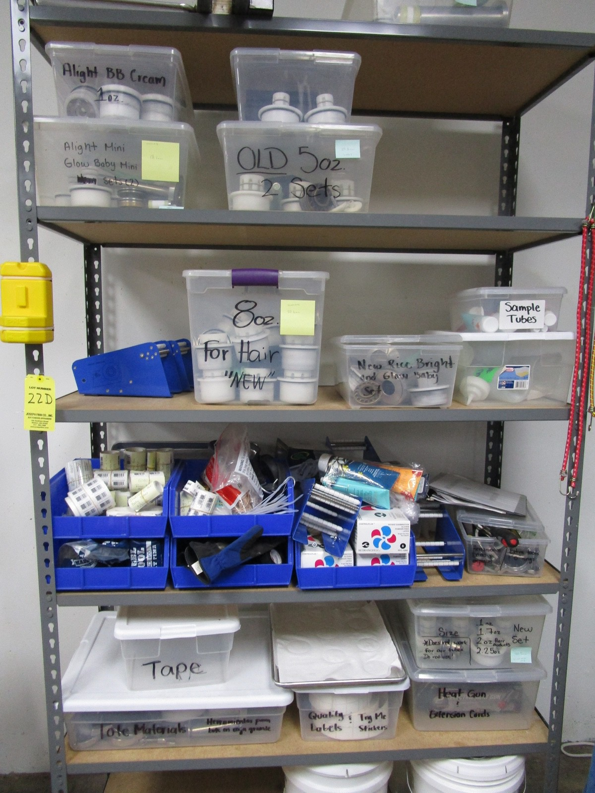 Hot Air Tube Filler Tooling on Shelving | Rig Fee: $50