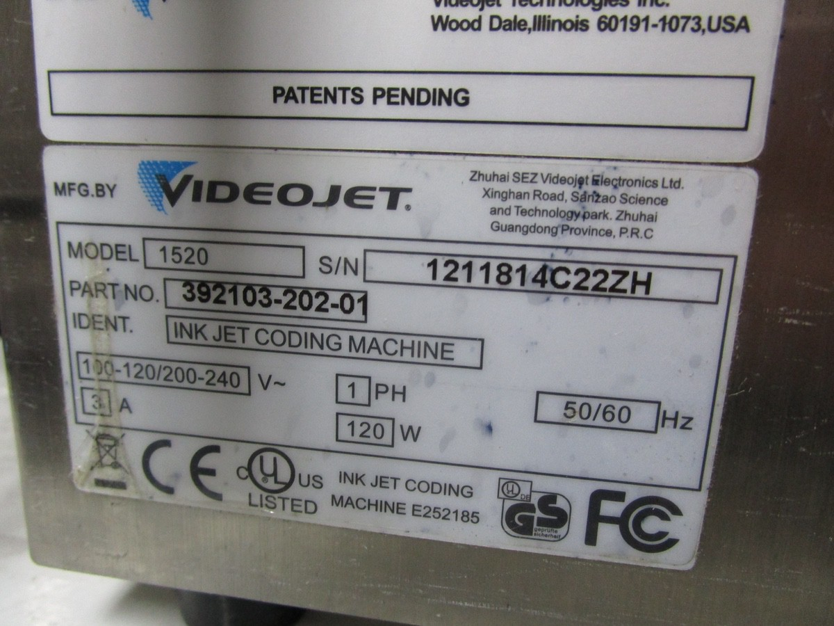 Lot 23 - VideoJet 1520 Ink Jet Coding Machine s/n 1211814C22ZA | Rig Fee: $75