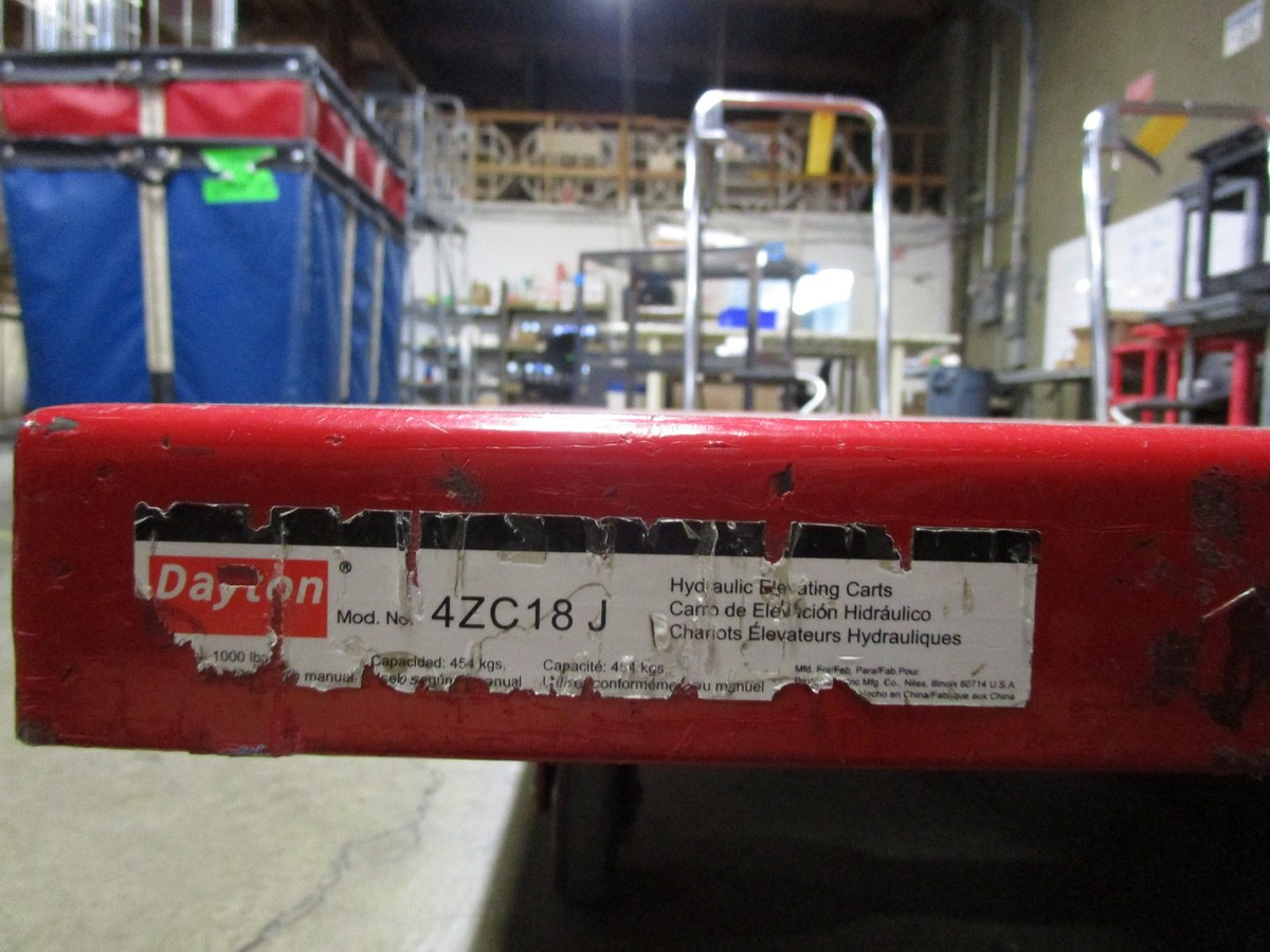 (2) Dayton 4ZC18J Scissor Lift Tables | Rig Fee: $100 - Image 3 of 3