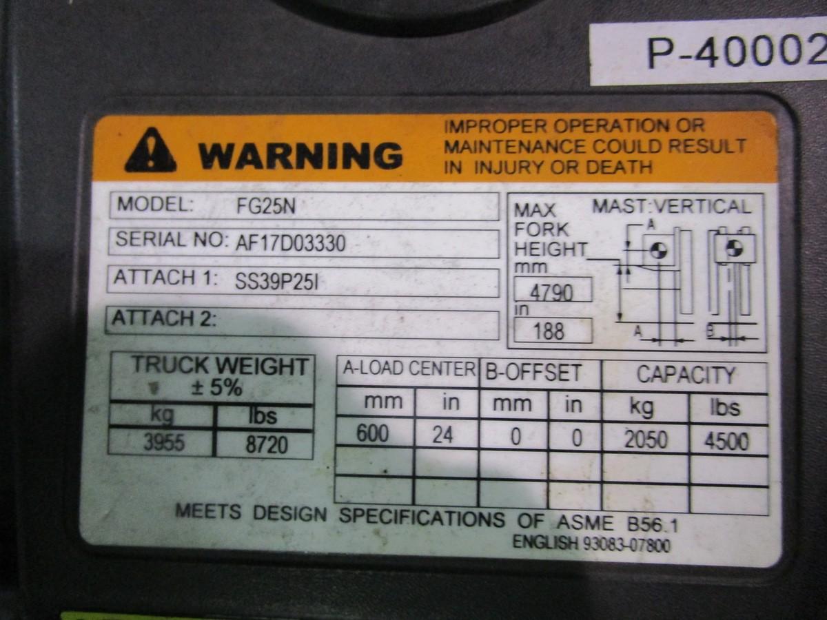 Mitsubishi FG25N LPG Forklift s/n AF17D03330 (Delivery - 4/3/20), 3175 Hours, 4,500# | Rig Fee: $100 - Image 5 of 7