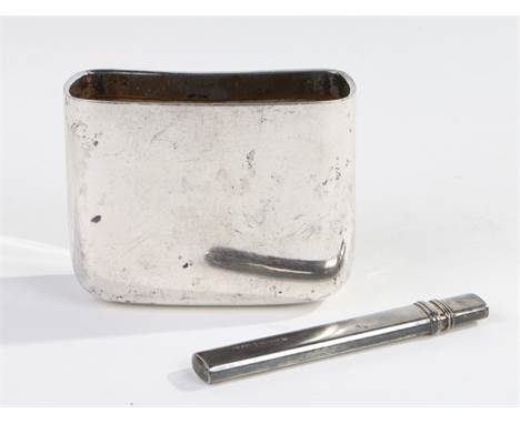 Late Victorian silver hip flask cup, London 1897, maker marks partially rubbed, together with a silver pencil holder, London