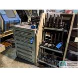 (LOT) TOOLING IN SHELVING AND VIDMAR CABINET AS DISPLAYED; TO INCLUDE BORING BARS, CARBIDE
