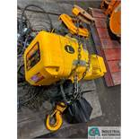 2 TON HARRINGTON MODEL GTO20 ELECTRIC CHAIN HOIST WITH TROLLEY; S/N 00098229 **RIGGING FEE DUE