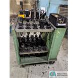 (LOT) LARGE QUANTITY OF 50 TAPER TOOLING TO INCLUDE (71) TOOLHOLDERS ON CART, CONTENTS OF BENCH
