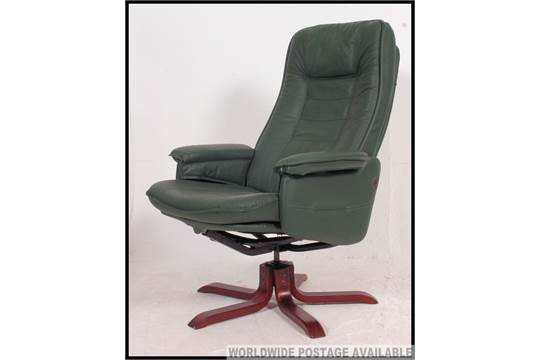 A Green Leather Reclining Swivel Captains Chair By Quality Makers  U0026#39;Danewayu0026#39; On A Rosewood Star Ba