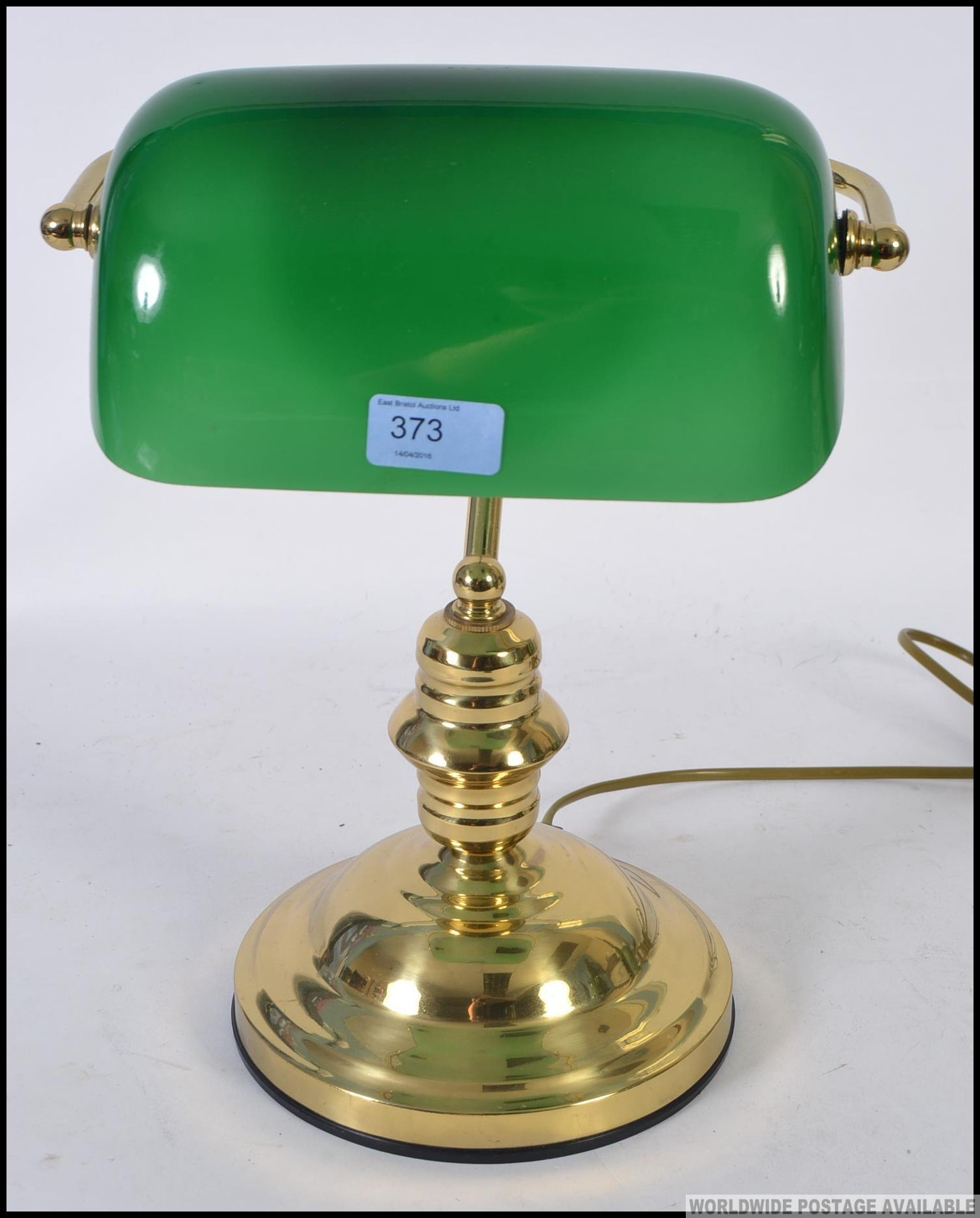 a vintage original bankers desk lamp of brass construction with a green glass shade h36cm. Black Bedroom Furniture Sets. Home Design Ideas