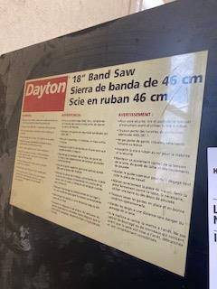 "DAYTON 18"" BANDSAW - Image 2 of 2"