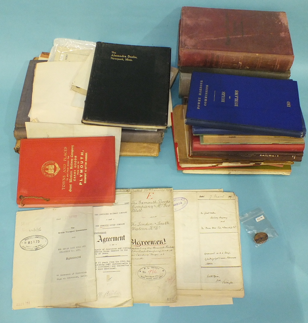 Lot 28 - A quantity of GWR and other railway rule books, Fowey Harbour Byelaws and other ephemera.