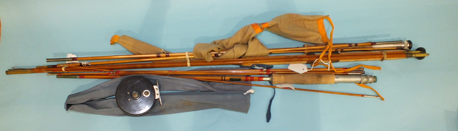 """Lot 560 - An Edgar Sealey three-piece split cane fly rod, """"Octofly"""" and two other fly rods, etc."""