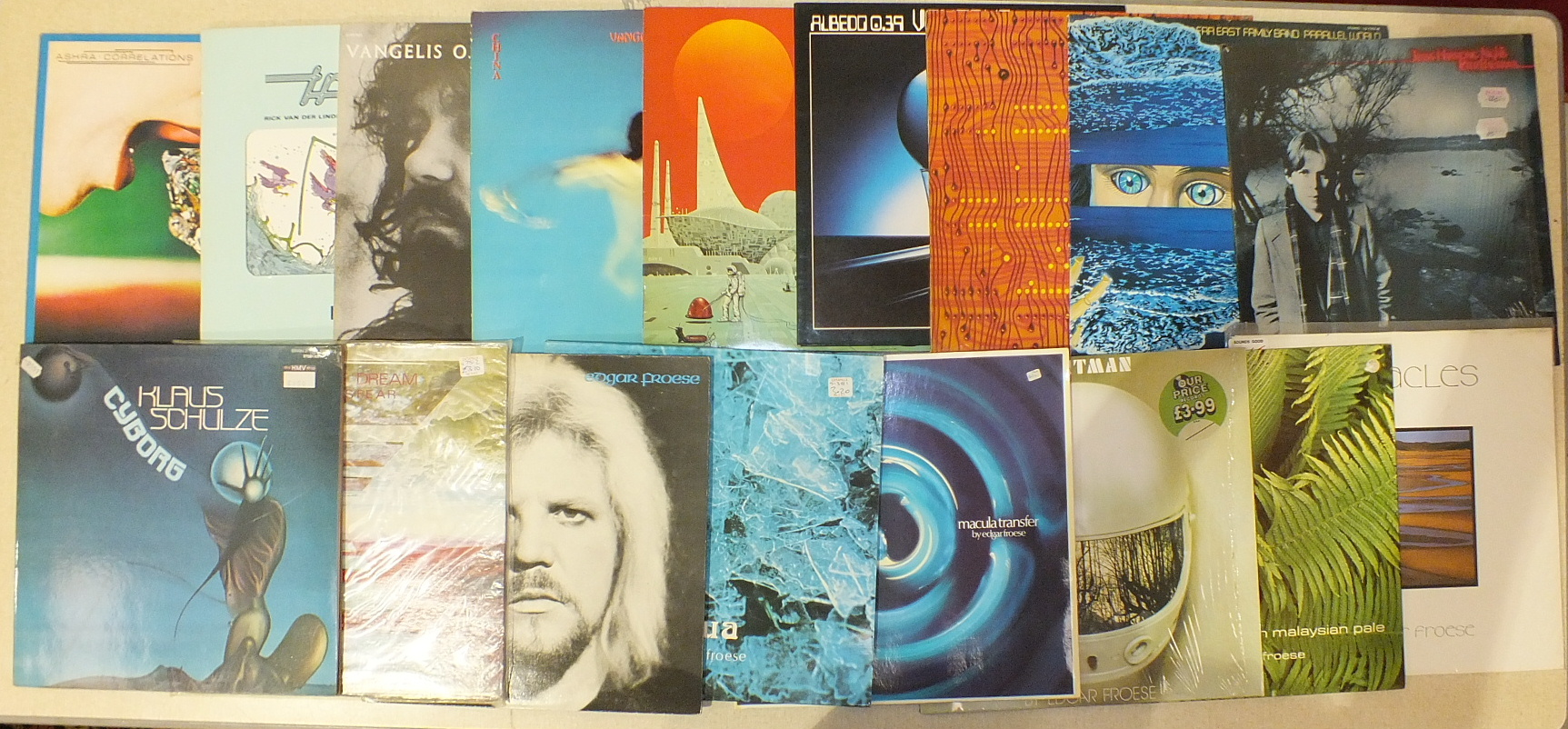 Lot 510 - A collection of LP's by Tangerine Dream, Edgar Froese, Klaus Shulze, Vangelis and others, (25). Some