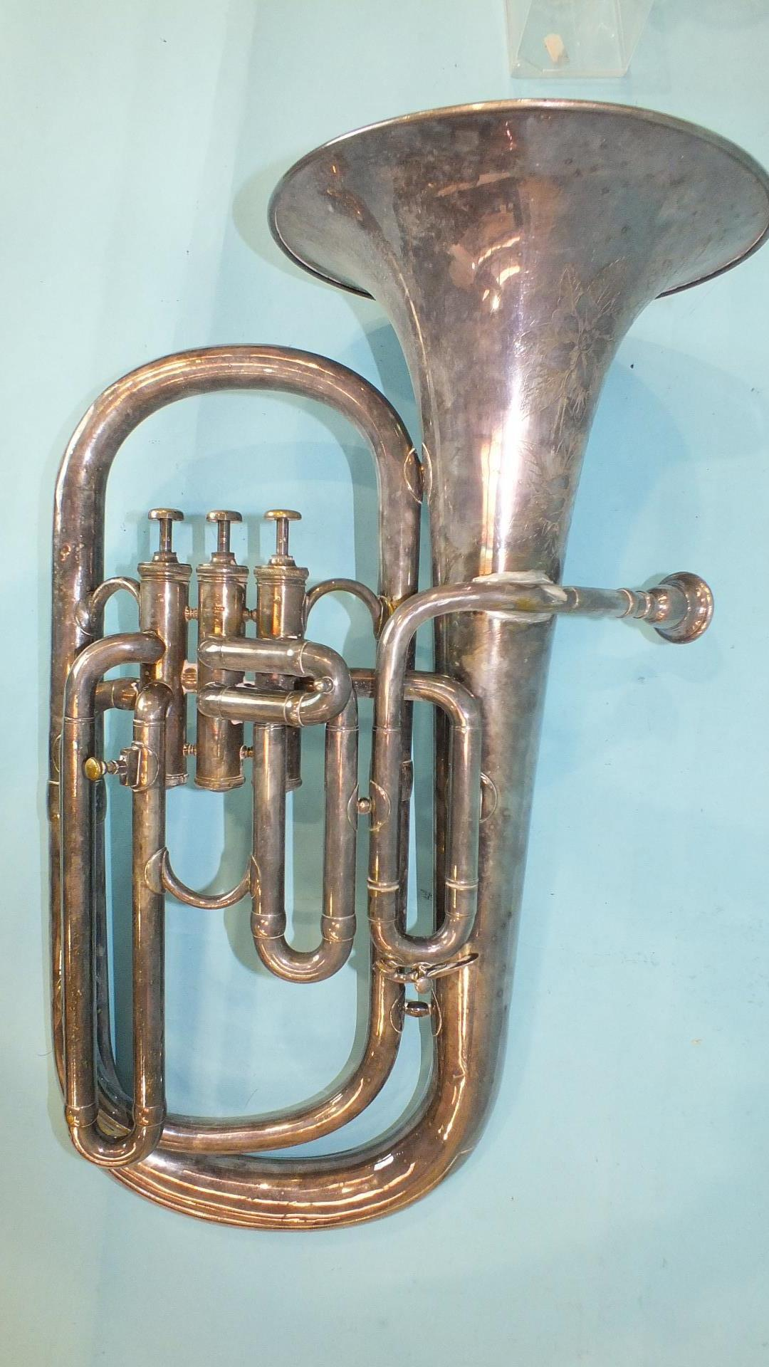 Lot 501 - A 'Superior Class' plated 3-valve euphonium by Hawkes & Son, Piccadilly, London, no.34662, (a/f),