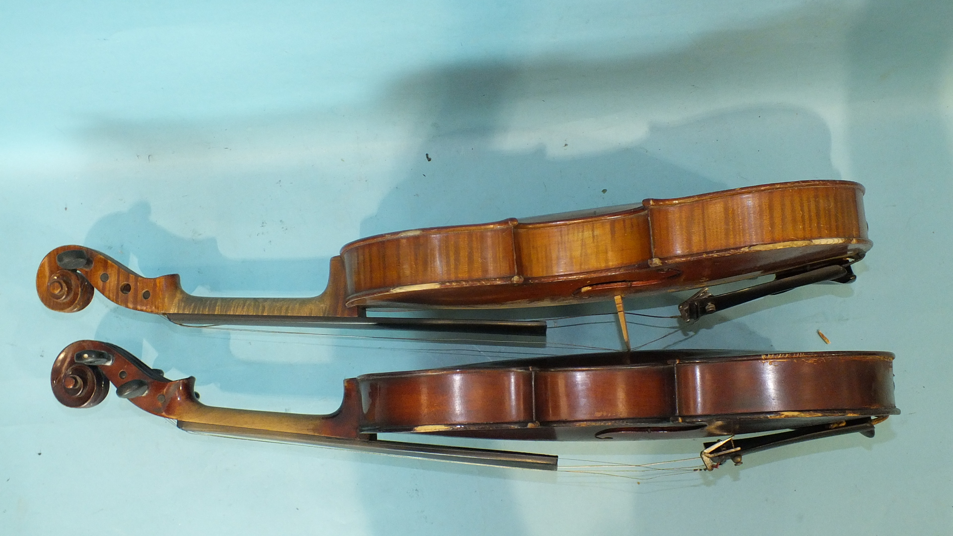 Lot 505 - A Celebre Vosgien violin with one-piece back, 35.5cm, with bow, in case and another full-size violin
