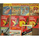 Lion - Annuals 1954-56, 1958, The Eagle Annuals 5, 8, 9 (2) and 12 and two books on The Eagle