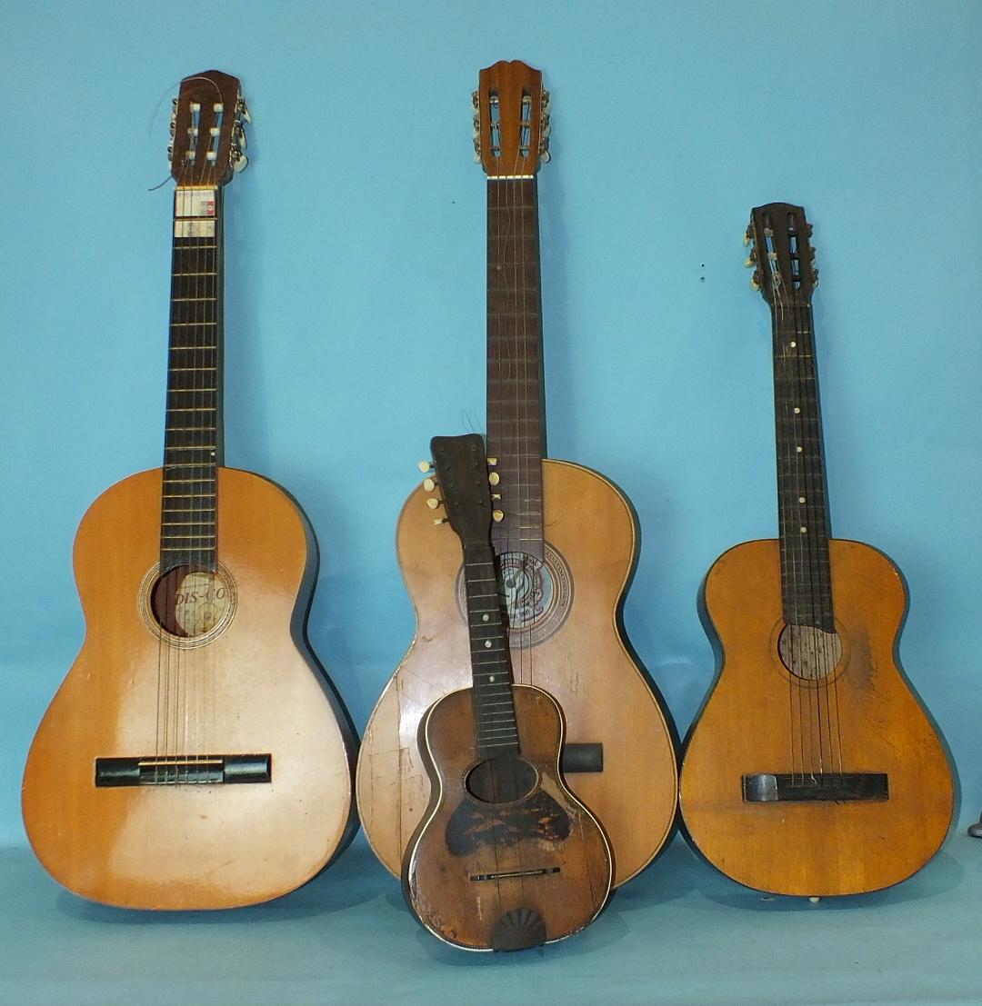 Lot 506 - Three small guitars and a soprano ukulele, all a/f, (4).