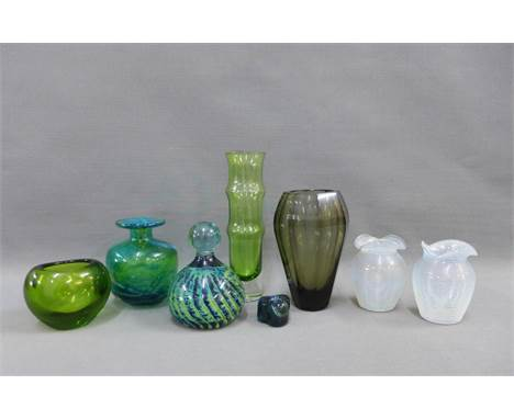 Collection of coloured glass to include Moser, Holmegaard and Mdina, etc, tallest 19cm (8)