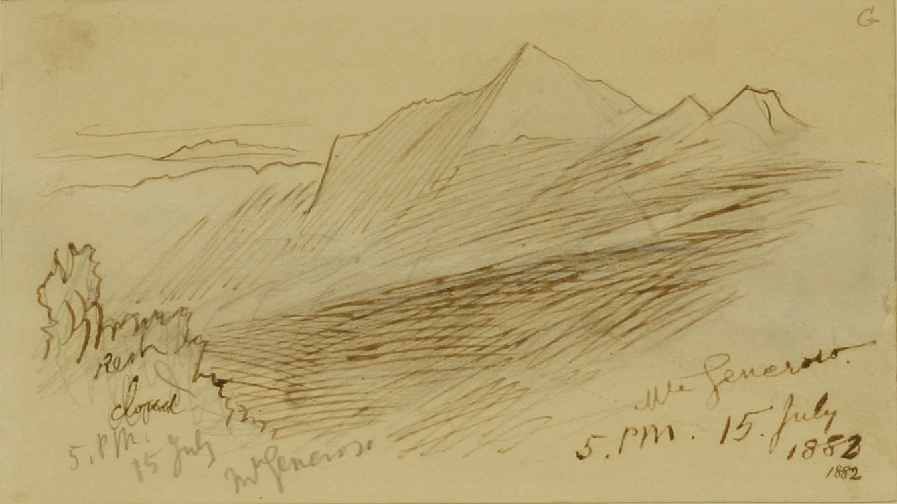 Lot 567 - Edward Lear (1812-1888)MOUNT GENEROSO, SWITZERLANDTwo, both signed and inscribed, one dated '5.30pm,