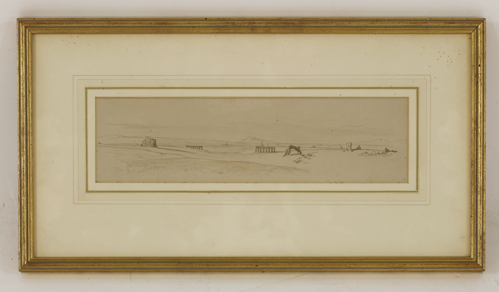 Lot 540 - Edward Lear (1812-1888)A VIEW IN THE ROMAN CAMPAGNADated '24 March 1867' l.l., pencil and pen and