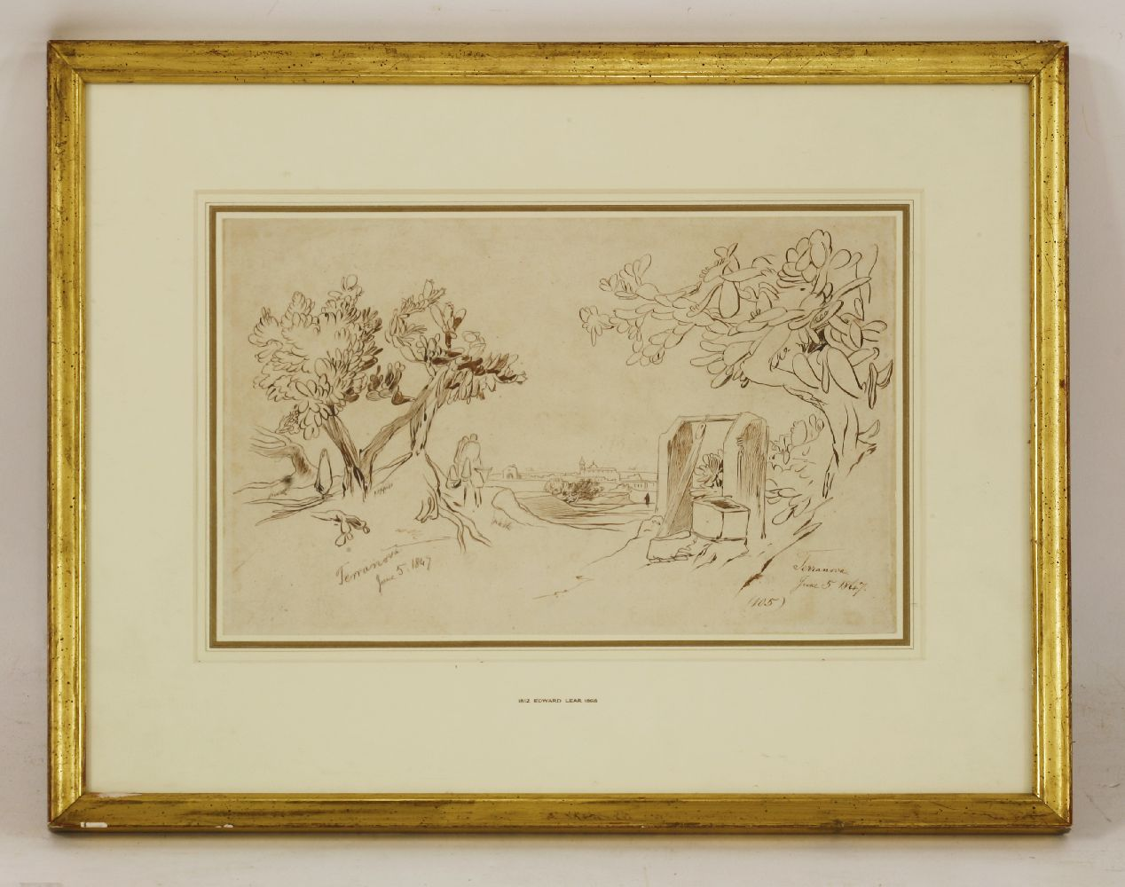 Lot 566 - Edward Lear (1812-1888)TERRANOVA, SICILYInscribed and and dated 'June 5 1847' twice and numbered