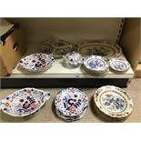 AN EXTENSIVE COLLECTION OF CERAMICS INCLUDING BOOTH'S IRONSTONE PLATES AND DISHES, LARGEST 42CM