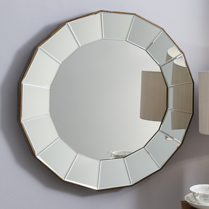 fairmont park wall mirror round mirror with angled beveled