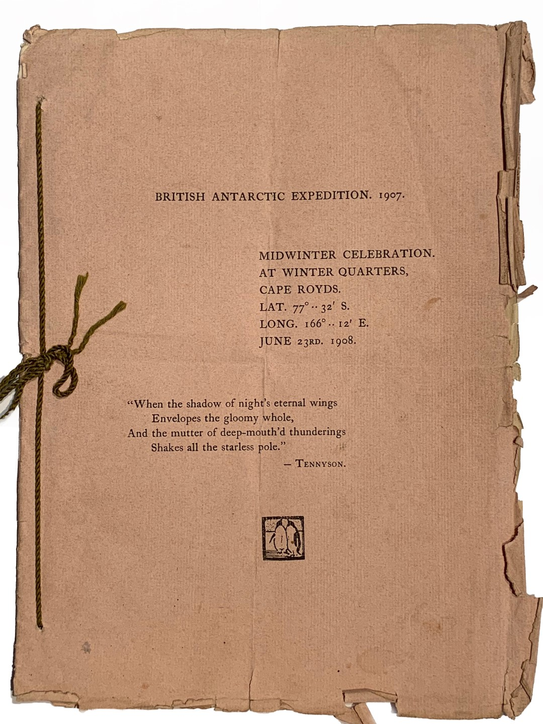 Lot 1 - The British Antarctic Expedition 1907-1909 led by Ernest Shackleton - June 23rd 1908. The