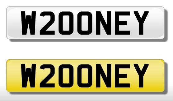 Lot 53 - Registration Plate 'W200NEY' (W Rooney)
