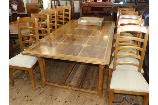 Barker Stonehouse Flagstone Rectangular Dining Table And Ten Ladder Back Chairs 8x2