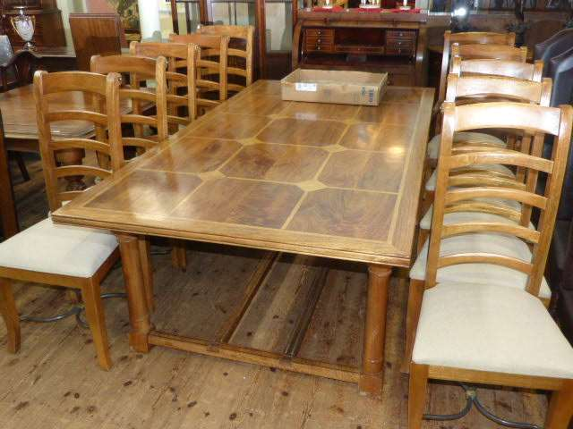 Barker Stonehouse Flagstone Rectangular Dining Table And Ten