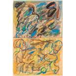 Oswald Oberhuber (Meran 1931 geb.) Ohne Titel Aquarell und Gouache auf Zeitungspapier 56 x 37 cm