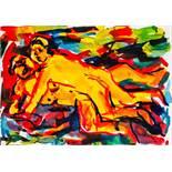 Otto Mühl (Grodnau 1925 - 2013 Moncarapacho) Liebespaar Öl auf Papier 43 x 61 cm 1983 unten signiert