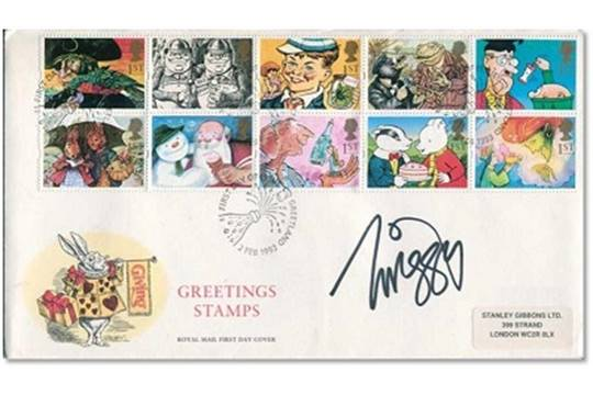 1993 royal mail greetings stamps first day cover signed by 1960s auction date m4hsunfo