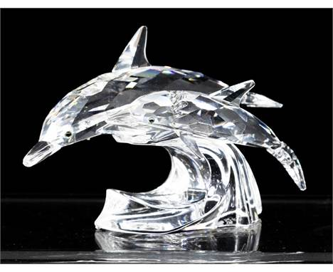 Swarovski Collections Lead Me, The Dolphins, 1990, with box and certificates