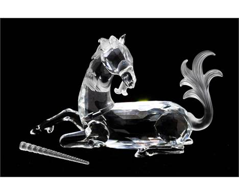 Swarovski Annual Edition 1996, Fabulous Creatures, The Unicorn (with detached horn), with box and certificates. Horn pr
