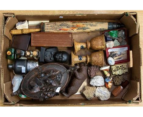 A carved Black Forest casket, and a bear; collectables including hip flask, medicine bottles, 19th century shoe snuff box; Ar