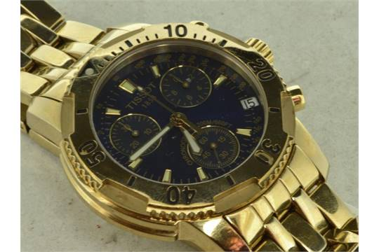 f4577bfe7 Gold plated Tissot PRS200 chronograph wristwatch, blue round dial ...