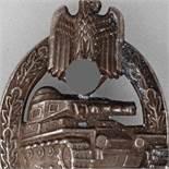 Kampfabzeichen III. Reich Panzerkampfabzeichen, Stufe Silber, massive Prägung, senkrechte Nadel,