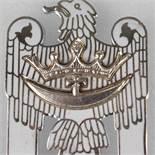 """Abzeichen III. Reich sog. Schlesischer Adler, weiß emailliert, """"Für Schlesien"""", senkrechte Nadel,"""