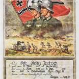 Urkunde III. Reich farbiger Druck der Firma Kunstverlag Andelfinger München, für einen Gefreiten,