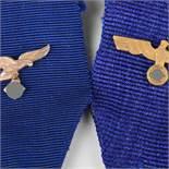 Auszeichnungen III. Reich insg. zwei Bänder für die Dienstauszeichnung, blaues Band mit