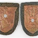 Paar Uniformzeichen III. Reich 1 x Ärmelschild Krim 1941/42, Adler mit Swastika über Landkarte,