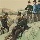 """""""Königl. Sächsische Armee 1862-67"""" Lithografie nach R. Knitel, Darstellung sächsischer Uniformen, im"""