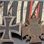 Ordensspange Teilnehmer I. WK zweiteilig: 1 x Eisernes Kreuz II. Klasse sowie 1 x