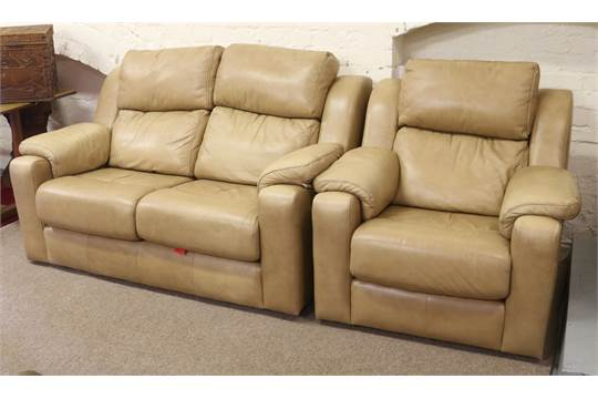 A g plan two seat fawn leather sofa and matching fireside