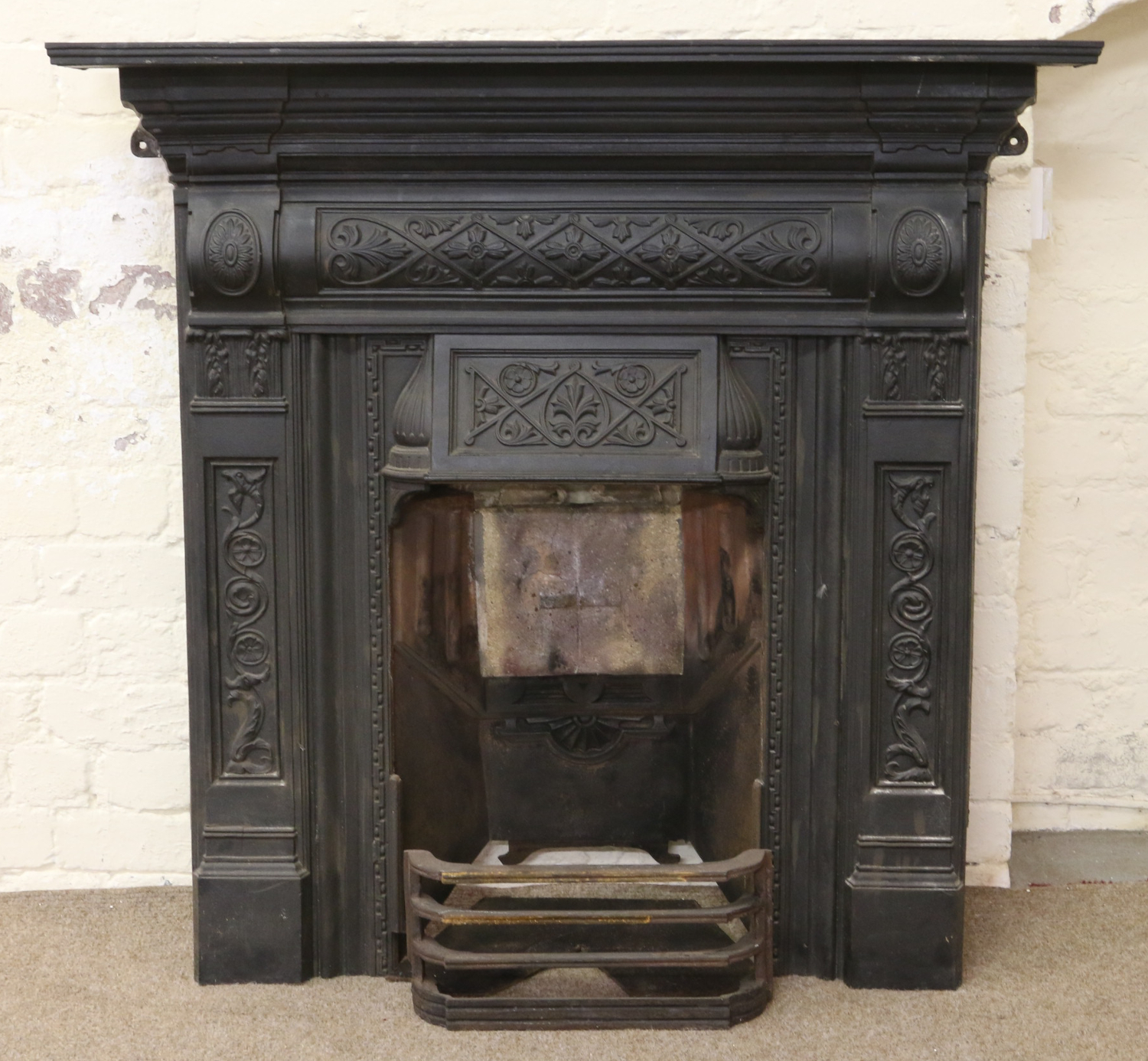 Lot 1124   An Ornate Victorian Painted Cast Iron Fireplace With Fire Back  Plate And Front