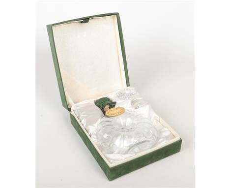 A Baccarat crystal decanter for Remy Martin Fine Champagne Cognac in green velvet mounted box.