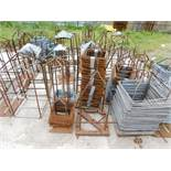 LOT OF MISC. WIRE & STEEL ALONG RETAINER WALL)