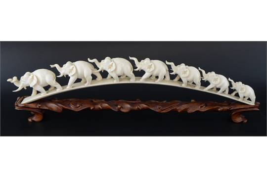 Early 20th century Chinese ivory carving of seven elephants