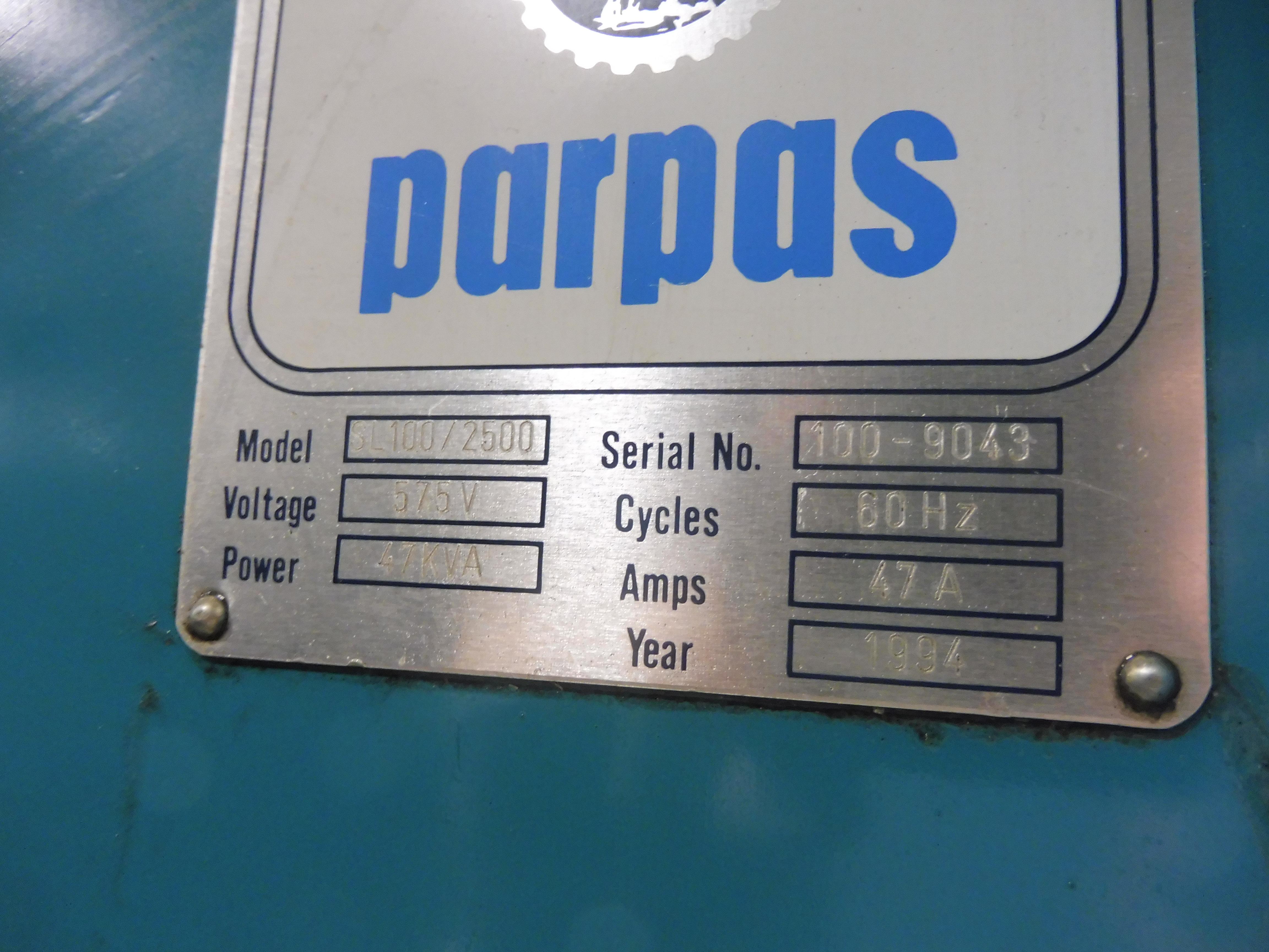 Lot 4 - 1994 PARPAS MODEL SL100/2500 RAM STYLE CNC HORIZONTAL MILL, S/N 100-9043, WITH HEIDENHAIN TNC-415B